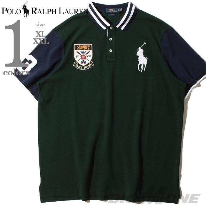 大きいサイズ メンズ POLO RALPH LAUREN ポロ ラルフローレン ビッグロゴ刺繍 鹿の子 半袖 デザイン ポロシャツ USA直輸入 710790217