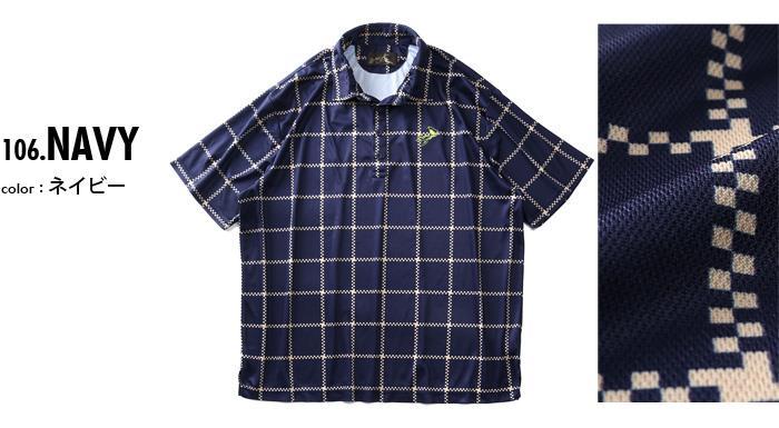 【golf1】大きいサイズ メンズ Bowerbirds Works 吸汗速乾 転写 半袖 ゴルフ ポロシャツ azpr-200299