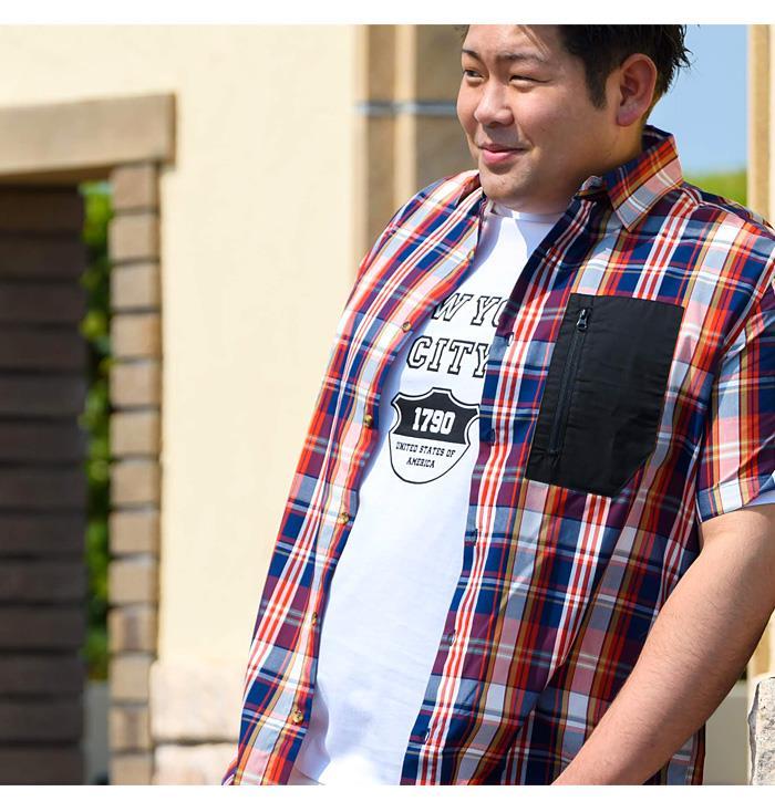 シャツ割 大きいサイズ メンズ BH ビィエイチ 半袖 チェック柄 デザイン シャツ bh-sh200216
