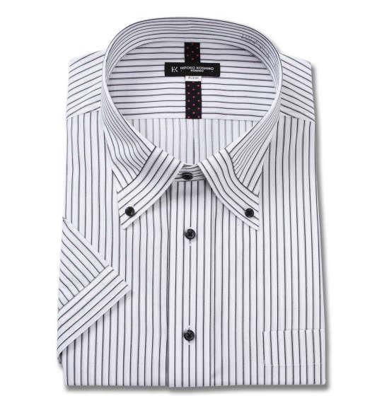 大きいサイズ メンズ HIROKO KOSHINO HOMME マイター B.D 半袖 シャツ ホワイト × ブラック 1277-0251-1 3L 4L 5L 6L 7L 8L