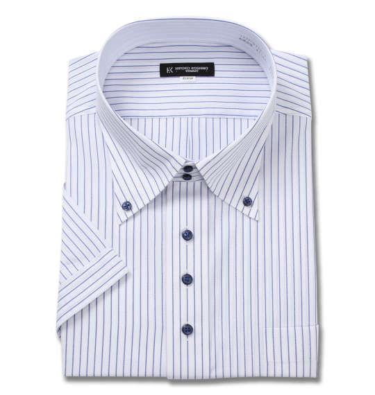 大きいサイズ メンズ HIROKO KOSHINO HOMME ドゥエ B.D 半袖 シャツ ホワイト × ネイビー 1277-0253-1 4L 5L 6L 7L 8L 9L