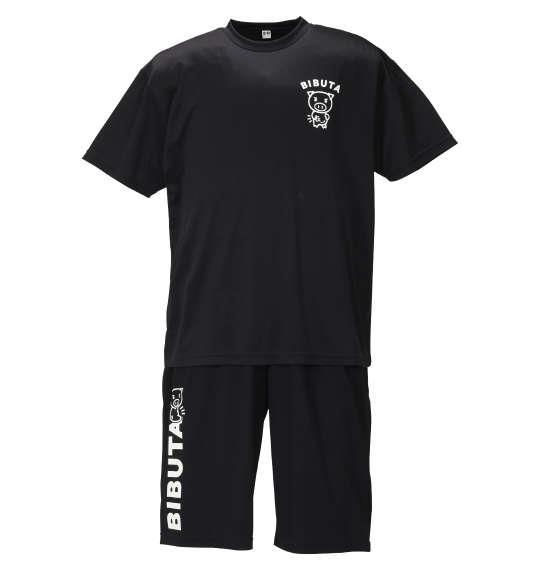 大きいサイズ メンズ 豊天 脂肪ではなく栄養です 半袖 Tシャツ + ハーフパンツ ブラック 1258-0507-1 3L 4L 5L 6L