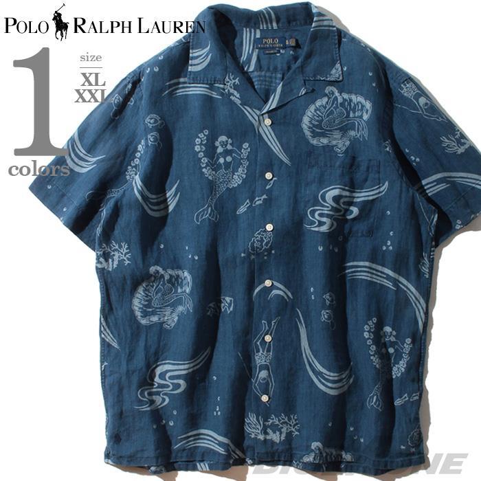 大きいサイズ メンズ POLO RALPH LAUREN ポロ ラルフローレン 半袖 プリント リネン オープン シャツ USA直輸入 710788316