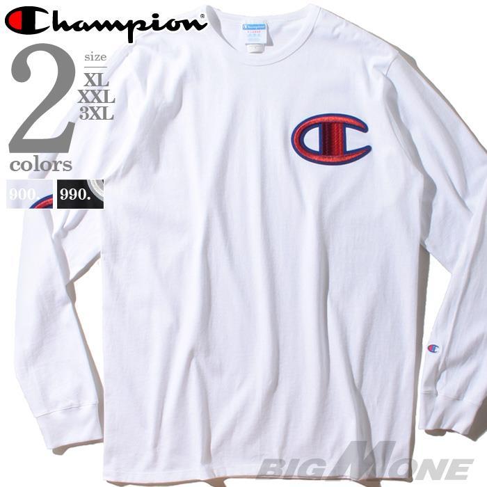 ブランドセール 大きいサイズ メンズ Champion チャンピオン ビッグロゴ刺繍 長袖 Tシャツ USA直輸入 gt47-y07981