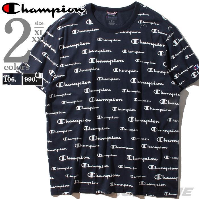 ブランドセール 大きいサイズ メンズ Champion チャンピオン ロゴ総柄 半袖 Tシャツ USA直輸入 t5747p