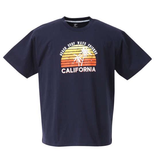 大きいサイズ メンズ OCEAN PACIFIC プリント 半袖 Tシャツ ネイビー 1268-0261-2 3L 4L 5L 6L 8L