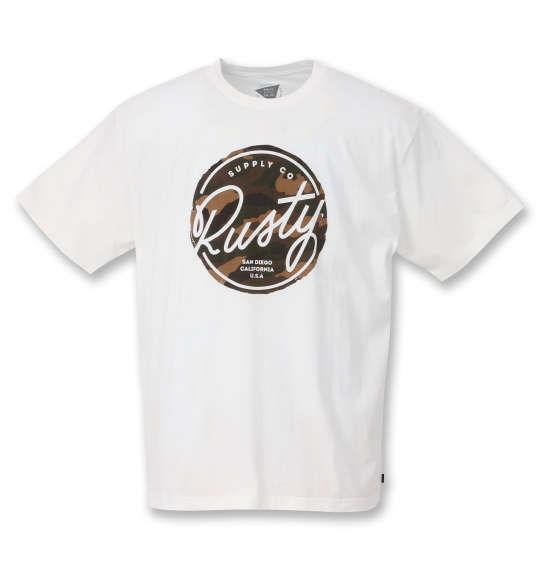 大きいサイズ メンズ RUSTY プリント 半袖 Tシャツ ホワイト 1268-0272-1 3L 4L 5L 6L 8L