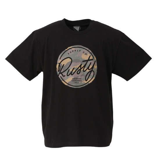 大きいサイズ メンズ RUSTY プリント 半袖 Tシャツ ブラック 1268-0272-2 3L 4L 5L 6L 8L