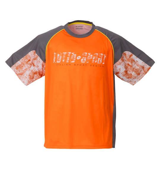 大きいサイズ メンズ LOTTO エステル 天竺 半袖 シャツ オレンジ 1278-0505-2 3L 4L 5L 6L 8L