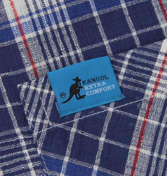 大きいサイズ メンズ KANGOL EXTRA COMFORT ふんわり ドビー チェック 長袖 パジャマ ネイビー 1259-0202-2 3L 4L 5L 6L