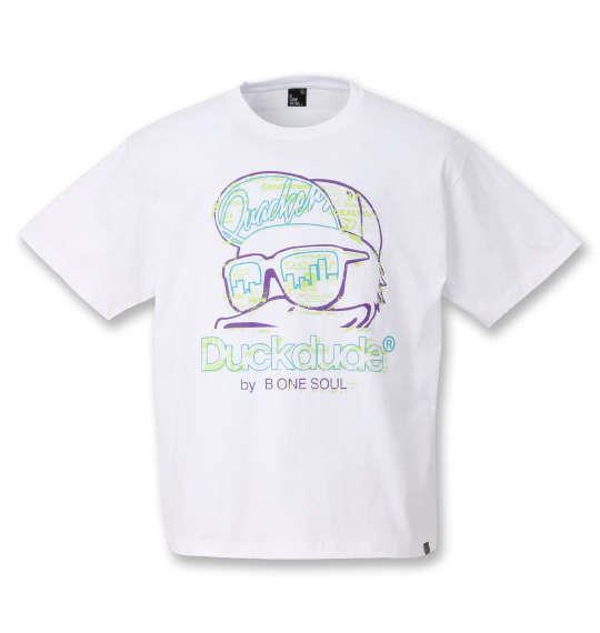大きいサイズ メンズ b-one-soul DUCK DUDE ネオンロゴ 半袖 Tシャツ ホワイト 1258-0515-1 3L 4L 5L 6L