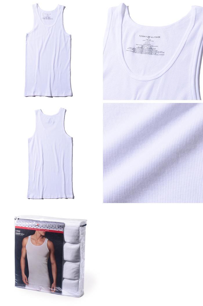 レギュラーサイズ TOMMY HILFIGER トミーヒルフィガー 肌着 下着 タンクトップ 4枚セット メンズ USA直輸入 r09ttk02