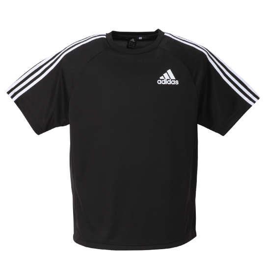 大きいサイズ メンズ adidas 半袖 Tシャツ ブラック 1278-0331-2 3XO 4XO 5XO 6XO 7XO 8XO