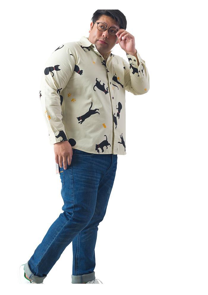 シャツ割 大きいサイズ メンズ DANIEL DODD 長袖 オックスフォード クロネコ柄 レギュラー シャツ 秋冬新作 916-200419