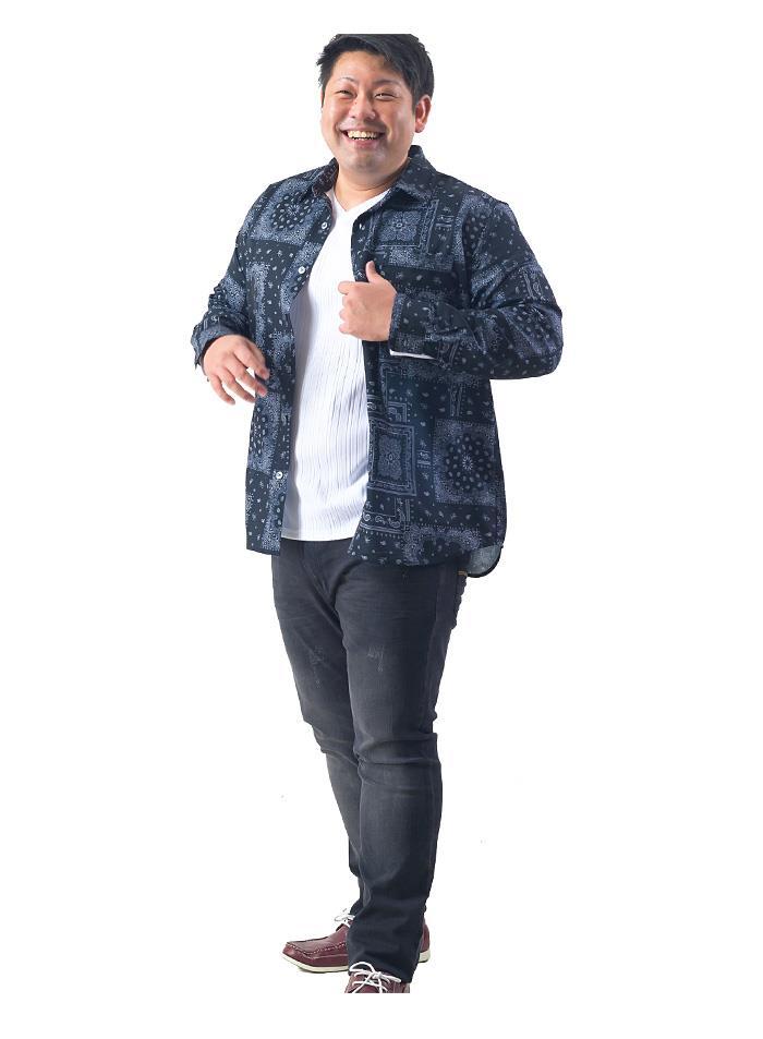 シャツ割 大きいサイズ メンズ DANIEL DODD 長袖 ポリエステル 総柄 プリント シャツ 秋冬新作 916-200421