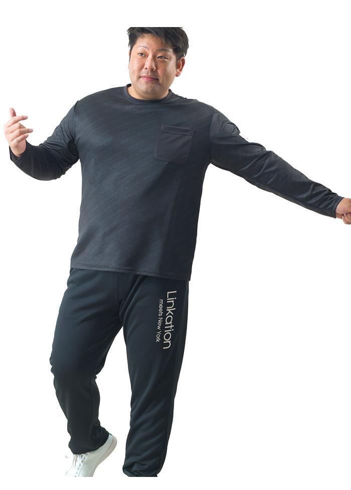 【ブラックフライデー】大きいサイズ メンズ LINKATION 吸汗速乾 総柄 プリント 長袖 Tシャツ アスレジャー スポーツウェア 秋冬新作 la-t200424