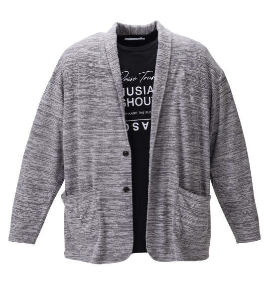 大きいサイズ メンズ launching pad 引き揃え 天竺 ショール ジャケット + 半袖 Tシャツ グレー杢 × ブラック 1258-0351-1 3L 4L 5L 6L