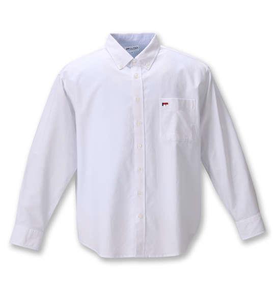 大きいサイズ メンズ H by FIGER オックス B.D 長袖 シャツ ホワイト 1267-0320-1 3L 4L 5L 6L 8L