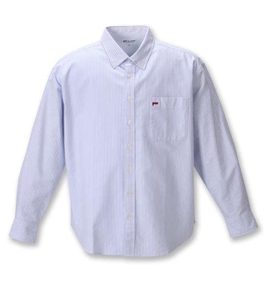 大きいサイズ メンズ H by FIGER オックス ストライプ B.D 長袖 シャツ サックス × ホワイト 1267-0321-1 3L 4L 5L 6L 8L