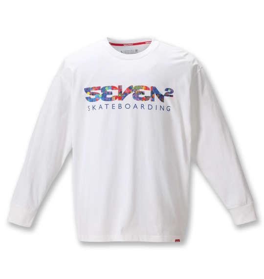 大きいサイズ メンズ SEVEN2 長袖 Tシャツ ホワイト 1268-0300-1 3L 4L 5L 6L