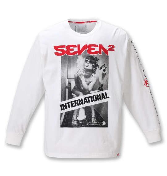 大きいサイズ メンズ SEVEN2 長袖 Tシャツ ホワイト 1268-0301-1 3L 4L 5L 6L