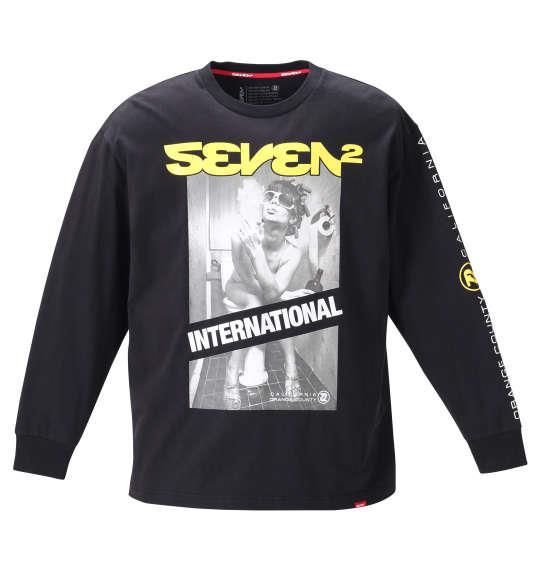 大きいサイズ メンズ SEVEN2 長袖 Tシャツ ブラック 1268-0301-2 3L 4L 5L 6L
