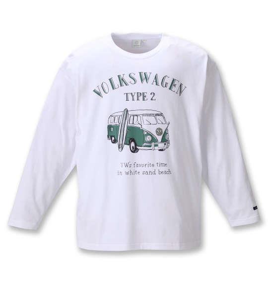 大きいサイズ メンズ VOLKSWAGEN 天竺 ワーゲンバス プリント 長袖 Tシャツ ホワイト 1268-0310-1 3L 4L 5L 6L 8L
