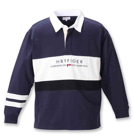 大きいサイズ メンズ H by FIGER 切替 長袖 ラガーシャツ ネイビー × ホワイト 1268-0330-1 3L 4L 5L 6L 8L