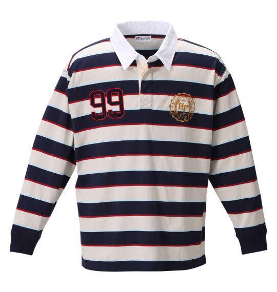 大きいサイズ メンズ H by FIGER 長袖 ボーダー ラガーシャツ ネイビー × ベージュ 1268-0331-1 3L 4L 5L 6L 8L