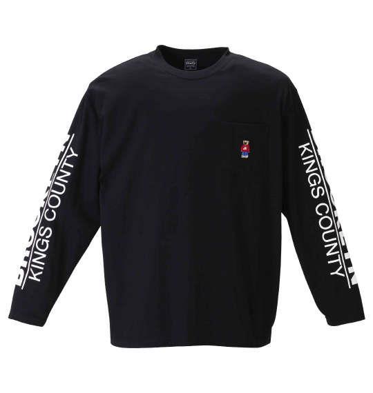大きいサイズ メンズ SHELTY 天竺 ベア刺繍 ポケット付 長袖 Tシャツ ブラック 1268-0360-2 3L 4L 5L 6L