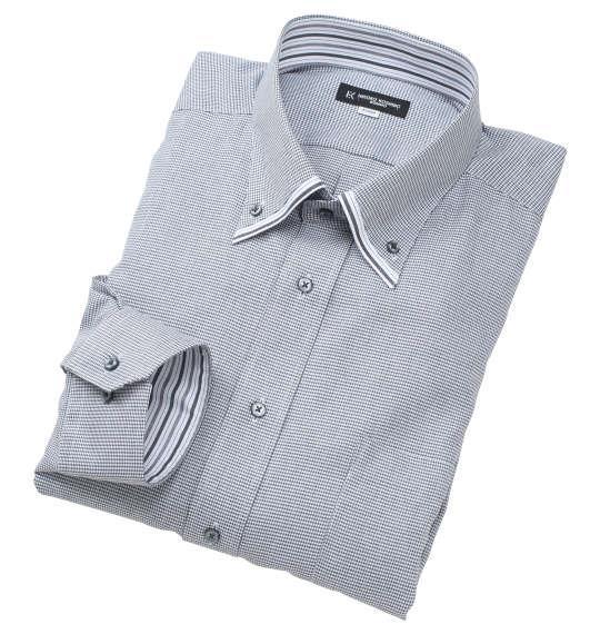 大きいサイズ メンズ HIROKO KOSHINO HOMME 2枚衿風 マイター B.D 長袖 シャツ ホワイト × ブラック 1277-0315-1 3L 4L 5L 6L 7L 8L