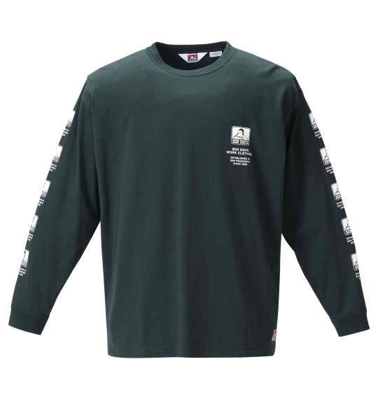 大きいサイズ メンズ BEN DAVIS 天竺 長袖 Tシャツ ダークグリーン 1278-0355-2 3L 4L 5L 6L