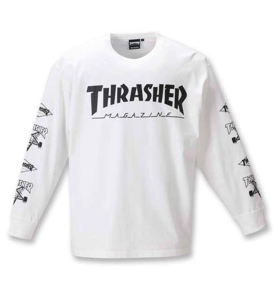 大きいサイズ メンズ THRASHER 長袖 Tシャツ ホワイト 1278-0611-1 3L 4L 5L 6L 8L