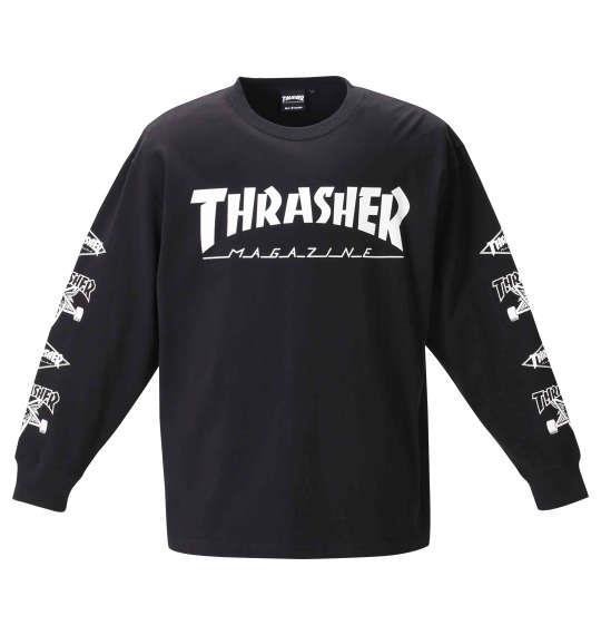 大きいサイズ メンズ THRASHER 長袖 Tシャツ ブラック 1278-0611-2 3L 4L 5L 6L 8L