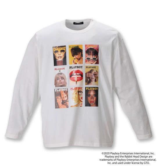 大きいサイズ メンズ PLAYBOY 天竺 プリント 長袖 Tシャツ オフホワイト 1278-0620-1 3L 4L 5L 6L