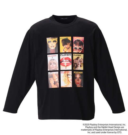 大きいサイズ メンズ PLAYBOY 天竺 プリント 長袖 Tシャツ ブラック 1278-0620-2 3L 4L 5L 6L