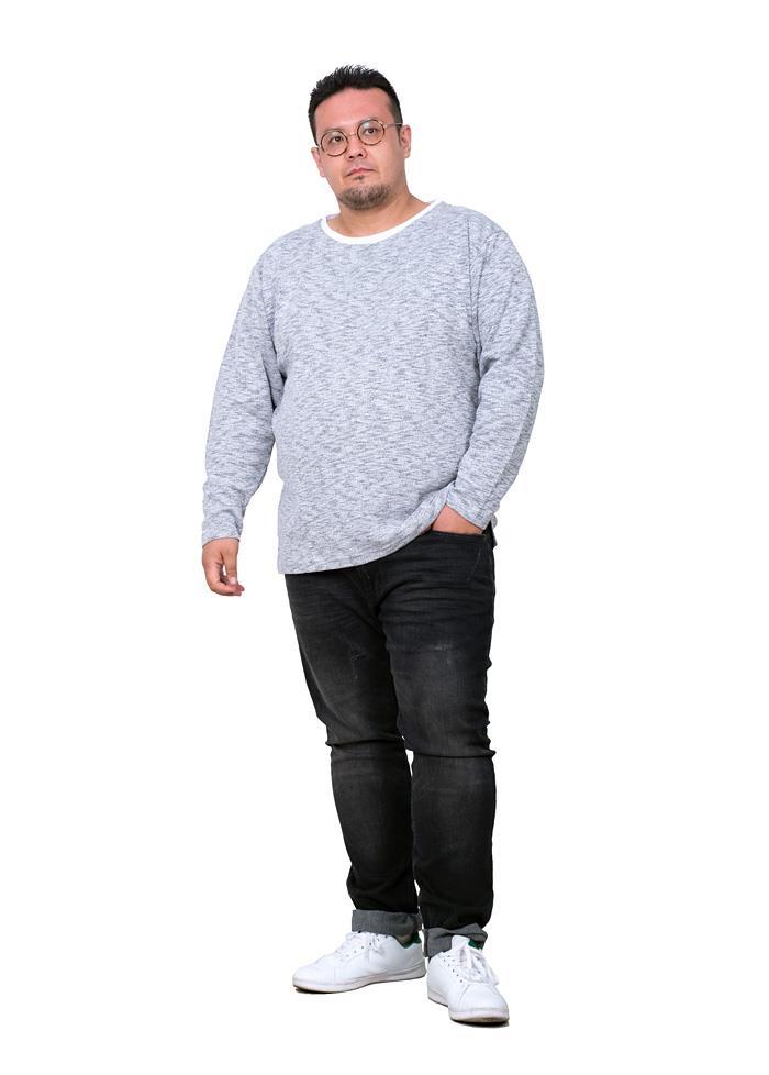 大きいサイズ メンズ PLEGGI プレッジ 杢スラブ フェイクレイヤード ロング Tシャツ 秋冬新作 60-86015-2