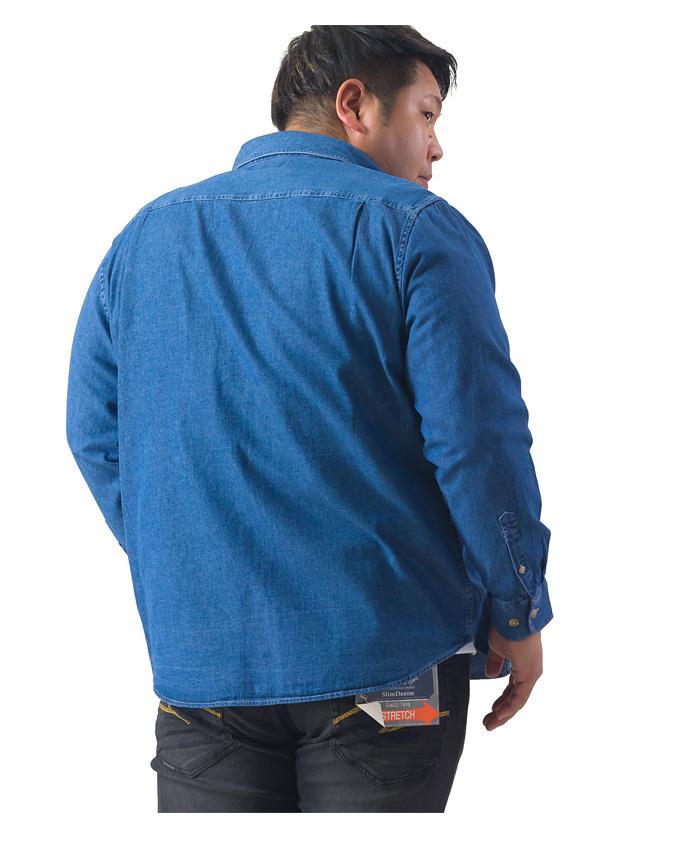 シャツ割 大きいサイズ メンズ DANIEL DODD 長袖 スラブ デニム ボタンダウン シャツ 秋冬新作 285-200404