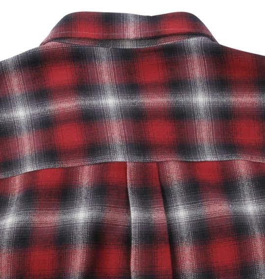 大きいサイズ メンズ OUTDOOR PRODUCTS ビッグポケット 長袖 オンブレ チェック シャツ レッド 1257-0350-1 3L 4L 5L 6L 8L