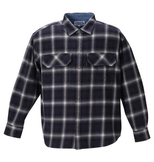 大きいサイズ メンズ OUTDOOR PRODUCTS ビッグポケット 長袖 オンブレ チェック シャツ ブラック 1257-0350-2 3L 4L 5L 6L 8L