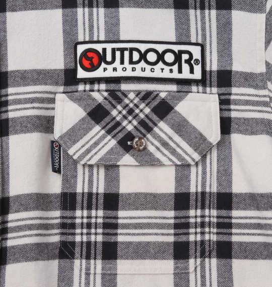 大きいサイズ メンズ OUTDOOR PRODUCTS ワッペン付 チェック 長袖 シャツ ホワイト × ブラック 1257-0351-1 3L 4L 5L 6L 8L