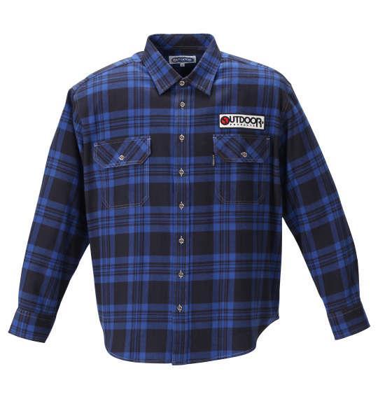 大きいサイズ メンズ OUTDOOR PRODUCTS ワッペン付 チェック 長袖 シャツ ブルー × ブラック 1257-0351-2 3L 4L 5L 6L 8L