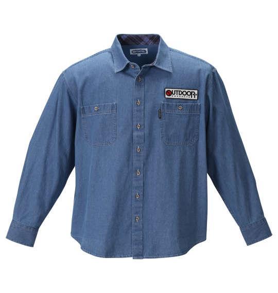 大きいサイズ メンズ OUTDOOR PRODUCTS ワッペン付 長袖 ワーク シャツ ブルー デニム 1257-0352-1 3L 4L 5L 6L 8L