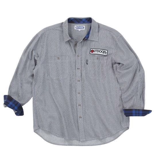大きいサイズ メンズ OUTDOOR PRODUCTS ワッペン付 長袖 ワーク シャツ ネイビー ヒッコリー 1257-0352-2 3L 4L 5L 6L 8L
