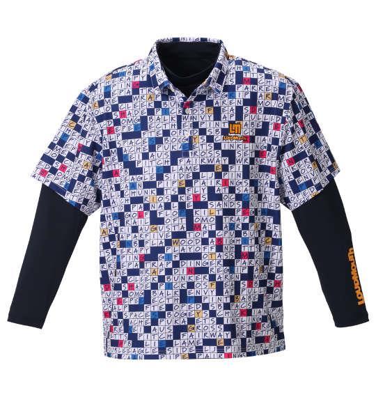 大きいサイズ メンズ LOUDMOUTH 半袖 シャツ + インナー セット ゴルフワードパズル × ネイビー 1278-0320-2 3L 4L 5L