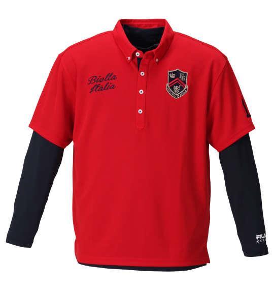 【golf1】大きいサイズ メンズ FILA GOLF 半袖 シャツ + インナー セット レッド × ネイビー 1278-0370-1 3L 4L 5L 6L