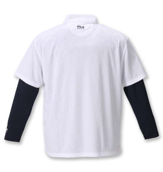 【golf1】大きいサイズ メンズ FILA GOLF ジャガード 半袖 シャツ + インナー セット ホワイト × ネイビー 1278-0371-1 3L 4L 5L 6L