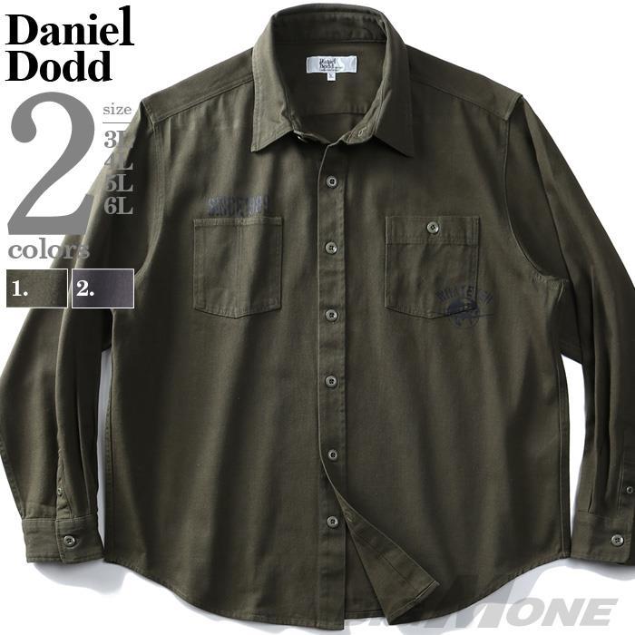 大きいサイズ メンズ DANIEL DODD 長袖 サテン バックプリント ミリタリー シャツ 916-200425