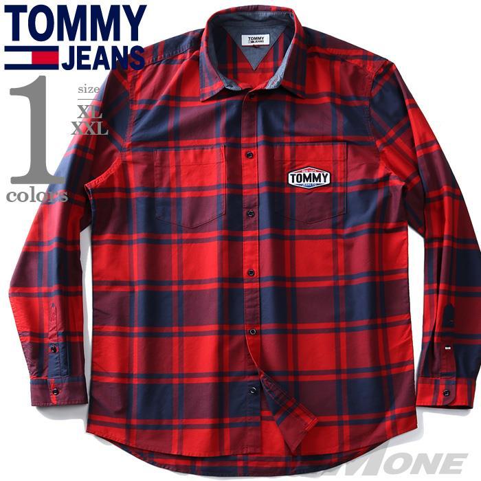 大きいサイズ メンズ TOMMY JEANS トミージーンズ オックスフォード チェック柄 シャツ USA直輸入 dm0dm08389