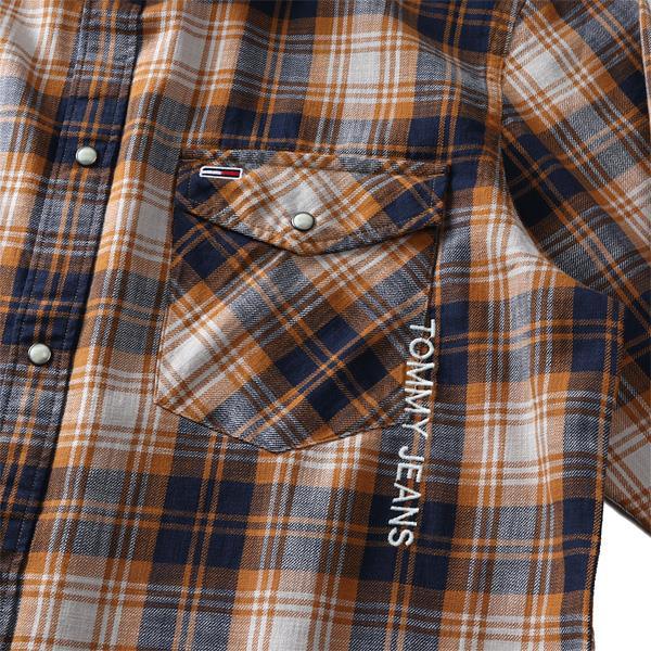 大きいサイズ メンズ TOMMY JEANS トミージーンズ チェック柄 ウエスタン シャツ USA直輸入 dm0dm08396